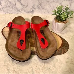 New Birkenstock Gizeh cherry red thong Sandals